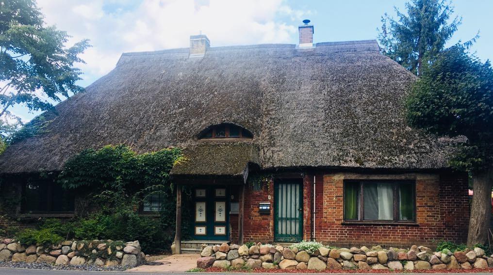 budynek z nowoczesnym dachem ze strzechy trzcinowej