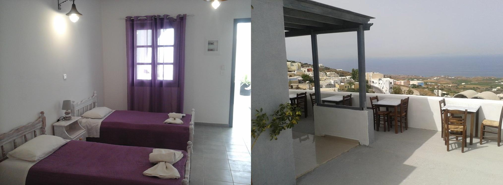 Na zdjęciu: pokój dwuosobowy i widok z hotelowego tarasu.