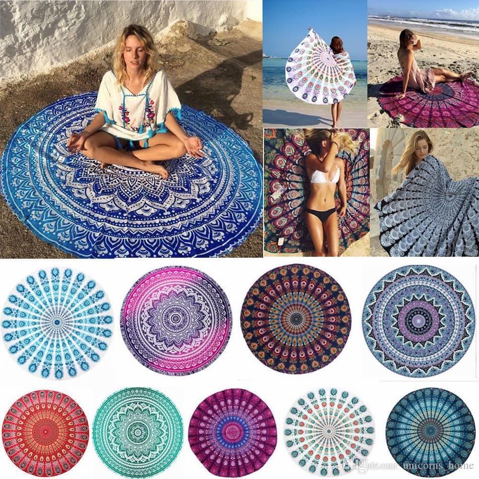 Maty plażowe okrągłe hippi