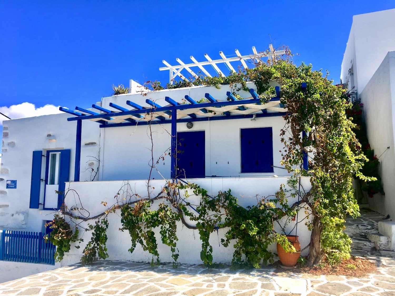 Limnos - Page 3 Bia%C5%82y-dom-grecki-z-niebieskimi-okiennicami-poro%C5%9Bni%C4%99ty-winoro%C5%9Bl%C4%85